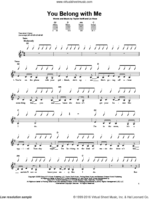 You Belong With Me sheet music for guitar solo (chords) by Liz Rose and Taylor Swift. Score Image Preview.