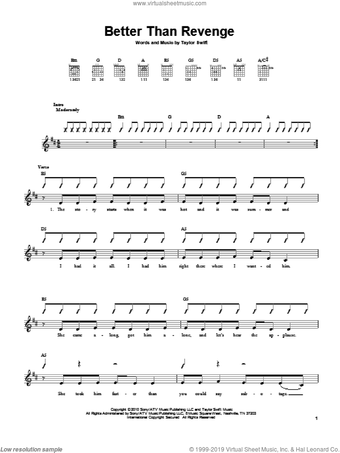 Better Than Revenge sheet music for guitar solo (chords) by Taylor Swift, easy guitar (chords)