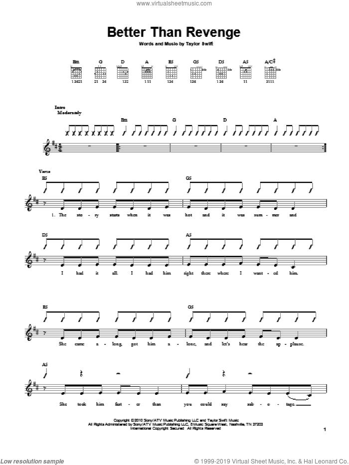 Swift - Better Than Revenge sheet music for guitar solo (chords)