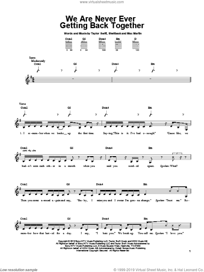 We Are Never Ever Getting Back Together sheet music for guitar solo (chords) by Taylor Swift, Max Martin and Shellback, easy guitar (chords)