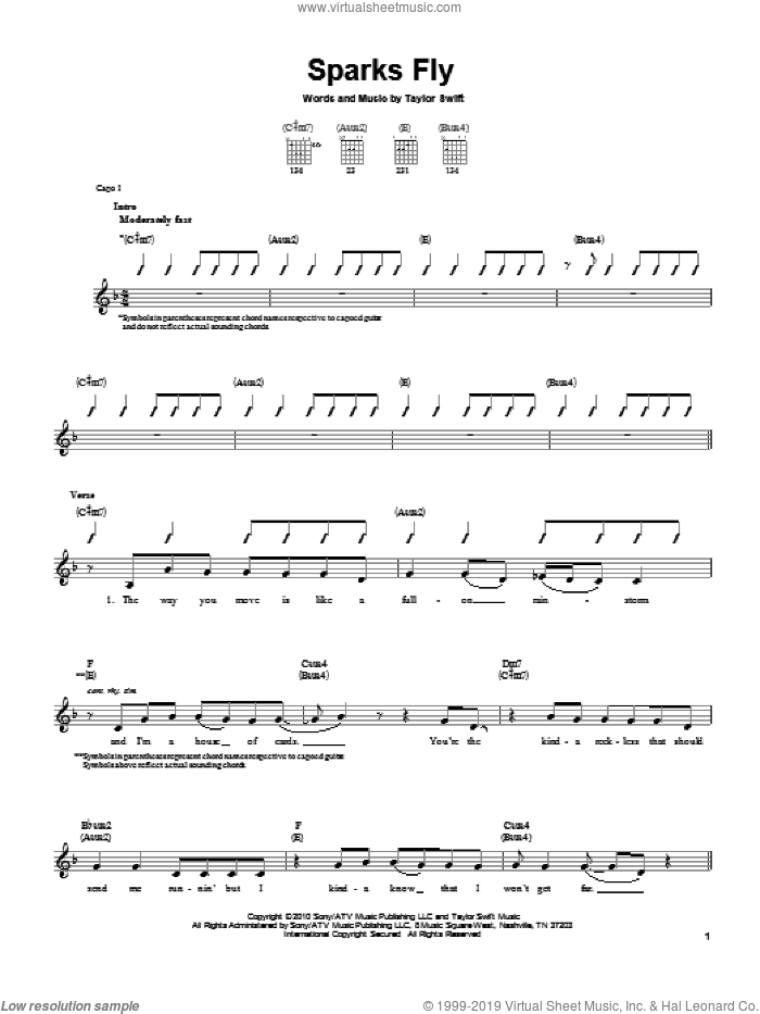 Sparks Fly sheet music for guitar solo (chords) by Taylor Swift. Score Image Preview.