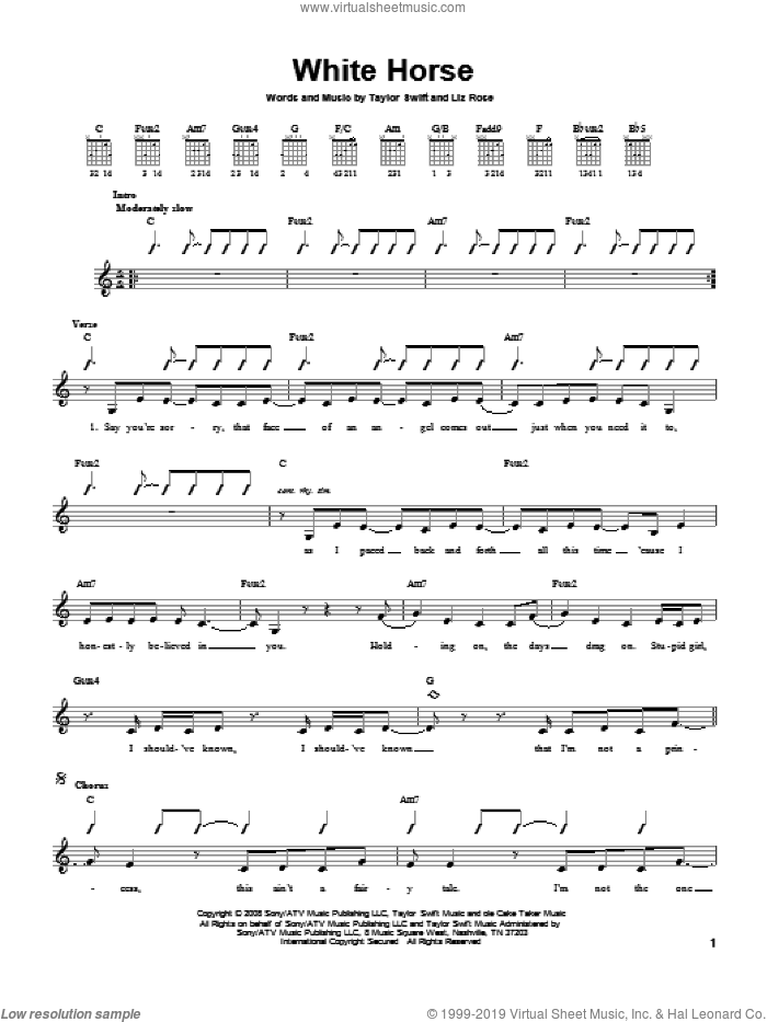 White Horse sheet music for guitar solo (chords) by Liz Rose and Taylor Swift. Score Image Preview.