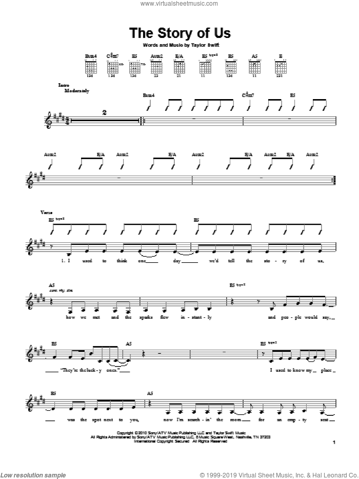 The Story Of Us sheet music for guitar solo (chords) by Taylor Swift. Score Image Preview.
