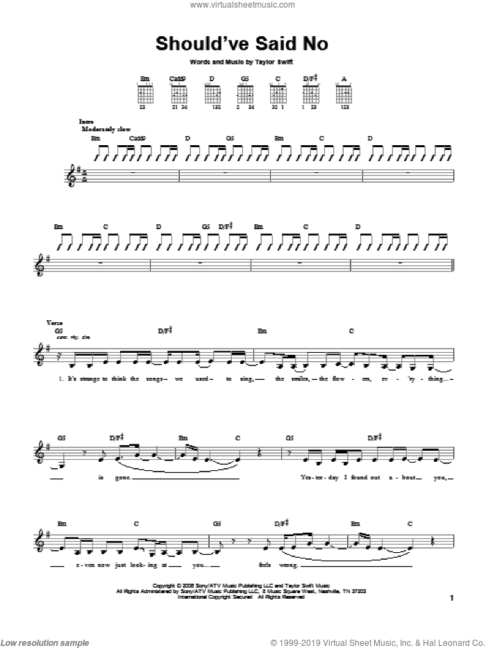 Should've Said No sheet music for guitar solo (chords) by Taylor Swift, easy guitar (chords). Score Image Preview.