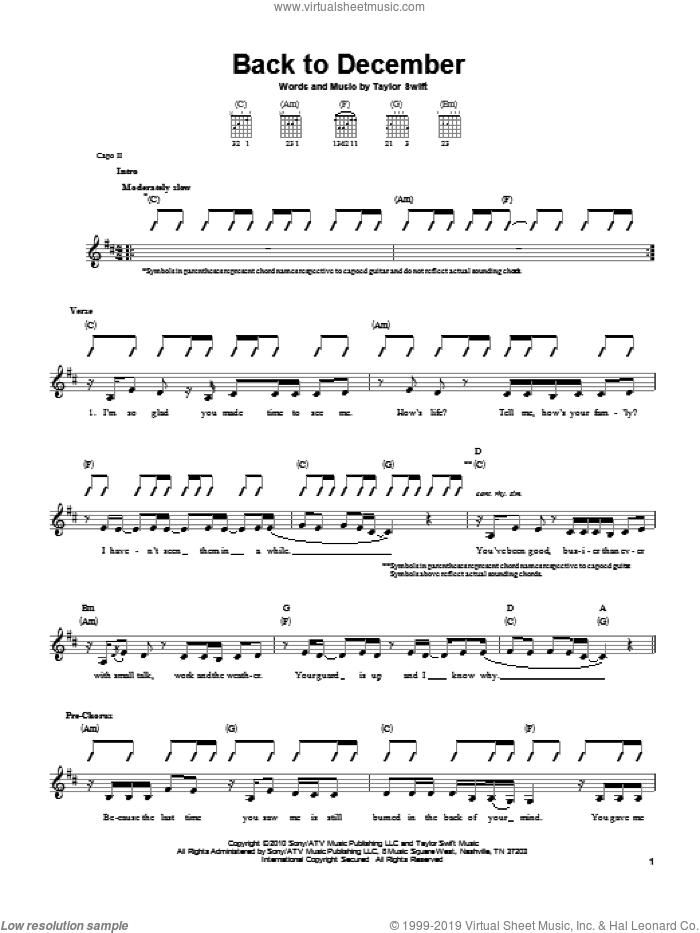 Back To December sheet music for guitar solo (chords) by Taylor Swift, easy guitar (chords)