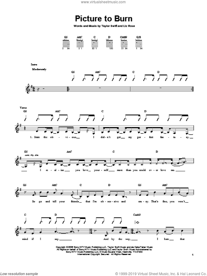 Picture To Burn sheet music for guitar solo (chords) by Taylor Swift and Liz Rose, easy guitar (chords)