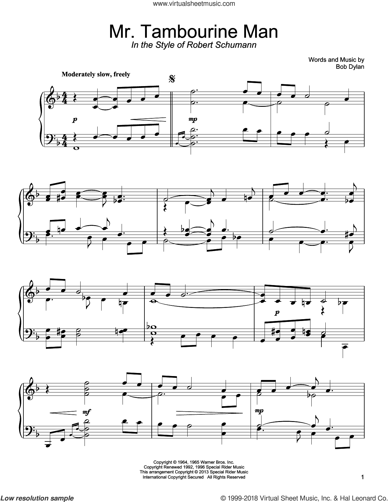 Mr. Tambourine Man sheet music for piano solo by Bob Dylan, classical score, intermediate skill level