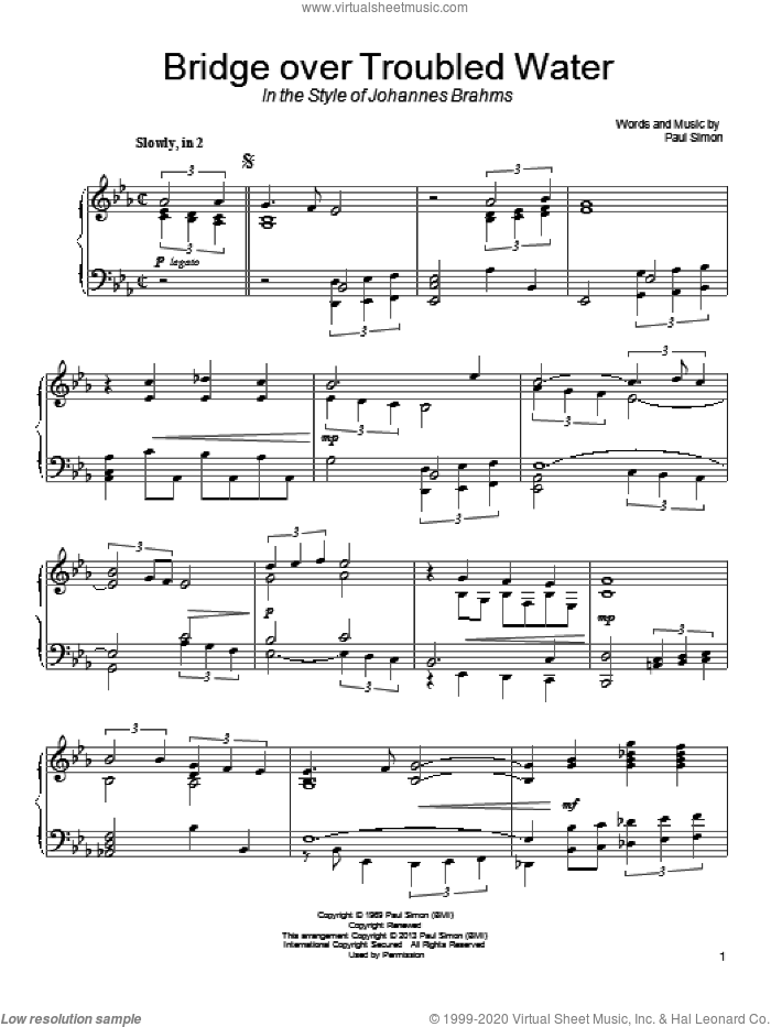 Bridge Over Troubled Water sheet music for piano solo by Paul Simon and Simon & Garfunkel. Score Image Preview.