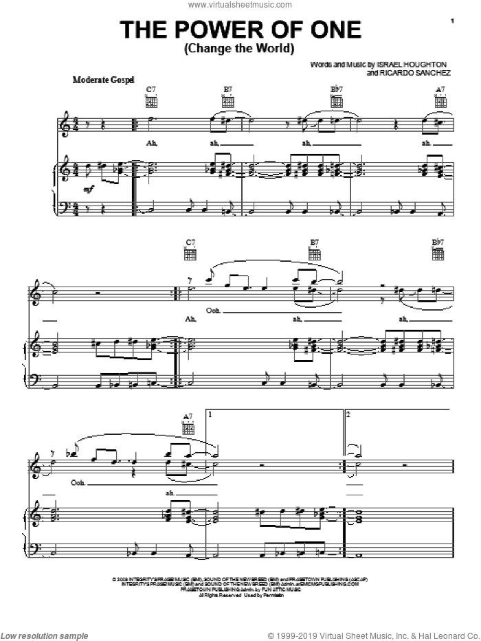 The Power Of One (Change The World) sheet music for voice, piano or guitar by Ricardo Sanchez and Israel Houghton. Score Image Preview.