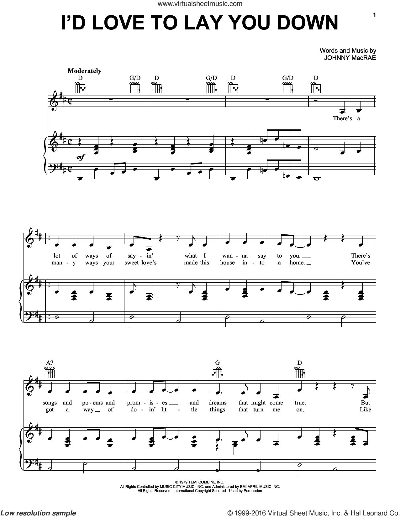 I'd Love To Lay You Down sheet music for voice, piano or guitar by Johnny MacRae and Conway Twitty. Score Image Preview.