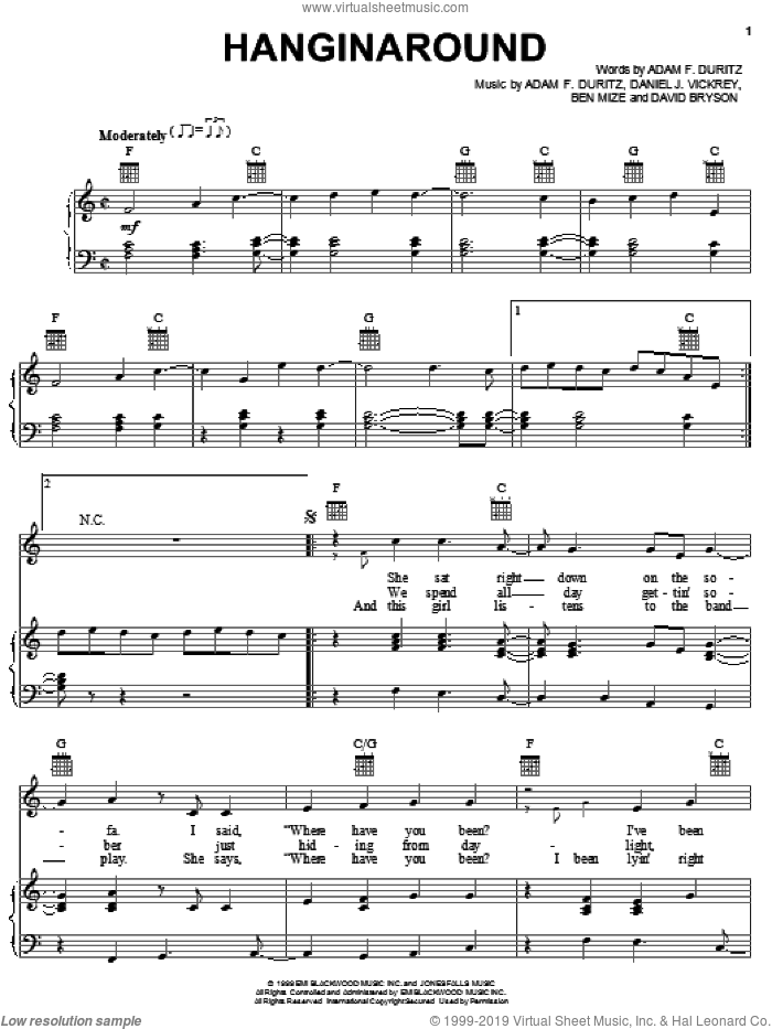 Hanginaround sheet music for voice, piano or guitar by Counting Crows and Dan Vickrey, intermediate voice, piano or guitar. Score Image Preview.