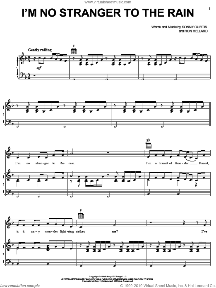 I'm No Stranger To The Rain sheet music for voice, piano or guitar by Keith Whitley, Ron Hellard and Sonny Curtis, intermediate skill level