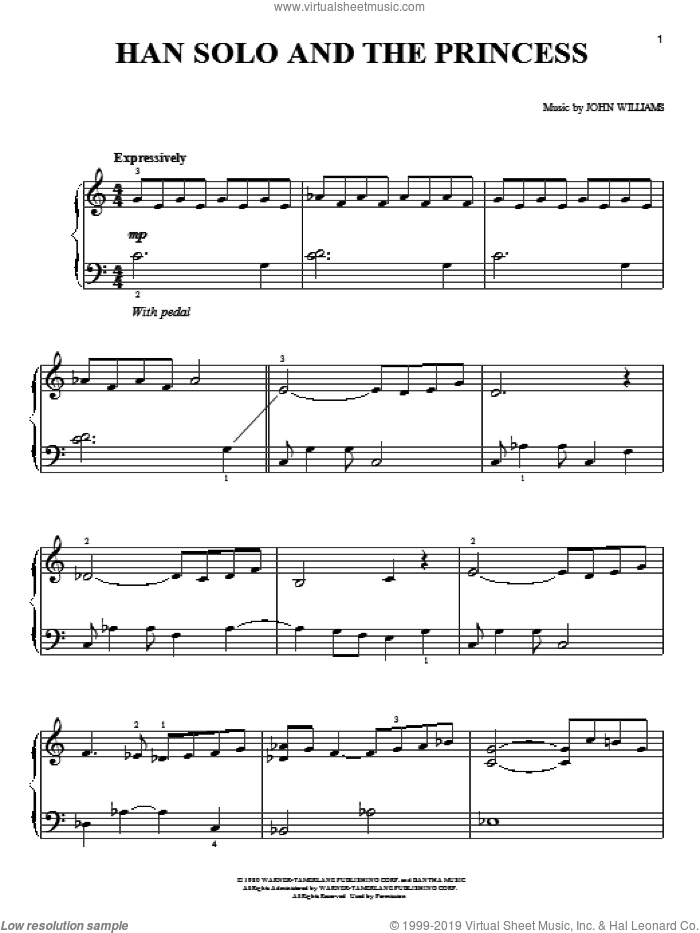 Han Solo And The Princess sheet music for piano solo by John Williams and Star Wars (Movie), easy skill level