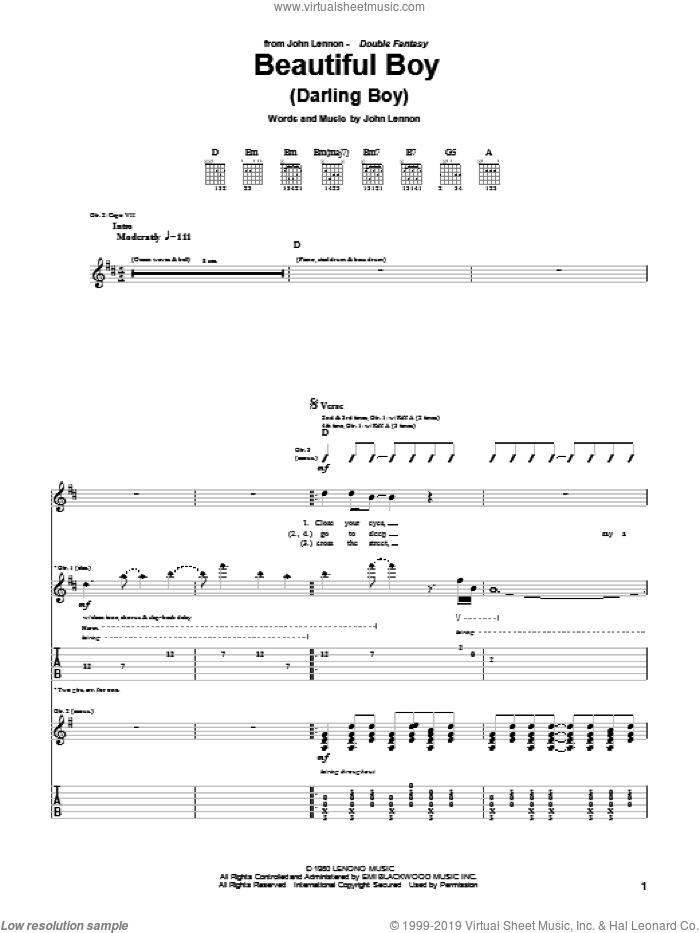 Beautiful Boy (Darling Boy) sheet music for guitar (tablature) by John Lennon, intermediate guitar (tablature). Score Image Preview.