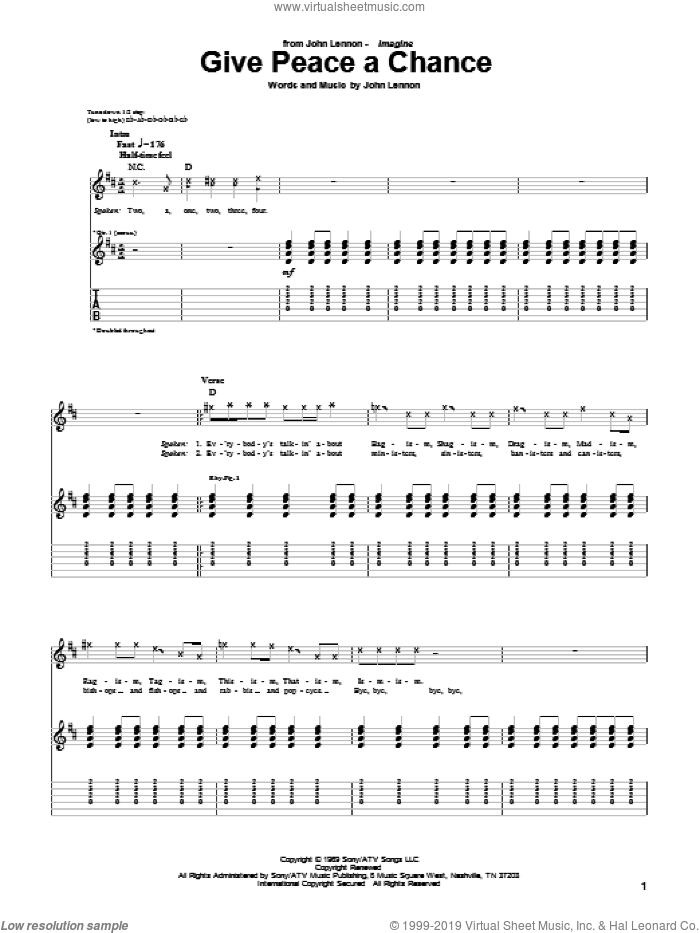 Give Peace A Chance sheet music for guitar (tablature) by John Lennon and Plastic Ono Band, intermediate skill level