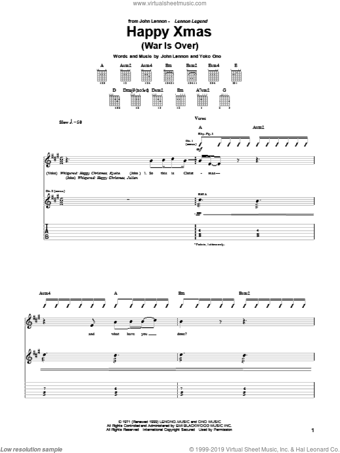Happy Xmas (War Is Over) sheet music for guitar (tablature) by John Lennon, Plastic Ono Band and Yoko Ono, intermediate skill level