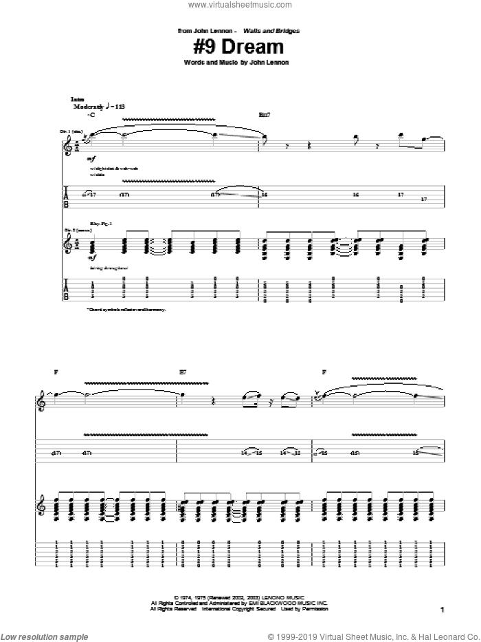 #9 Dream sheet music for guitar (tablature) by John Lennon, intermediate skill level