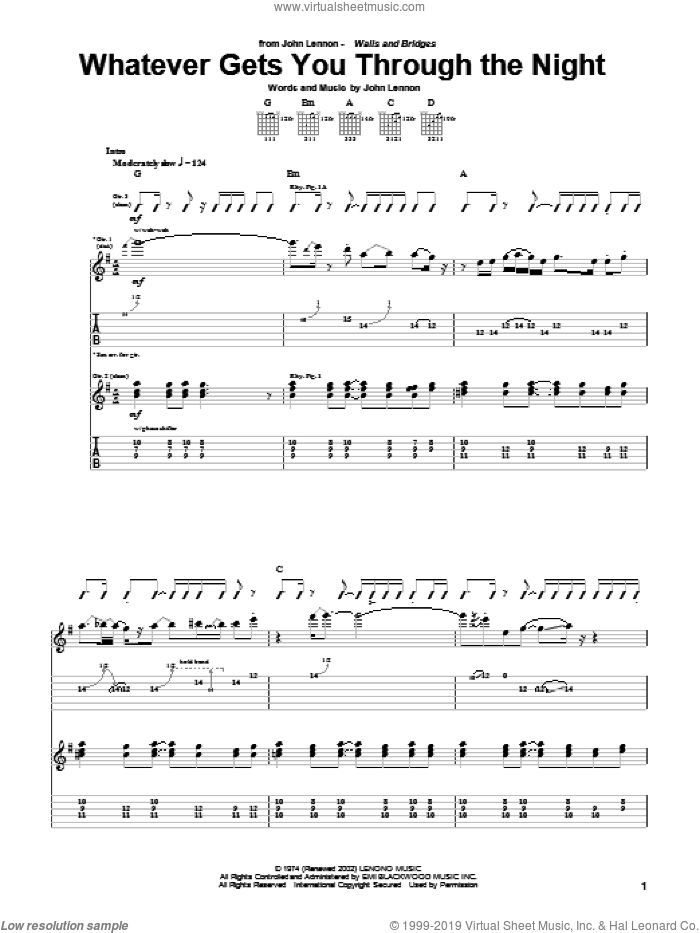 Whatever Gets You Through The Night sheet music for guitar (tablature) by John Lennon, intermediate. Score Image Preview.