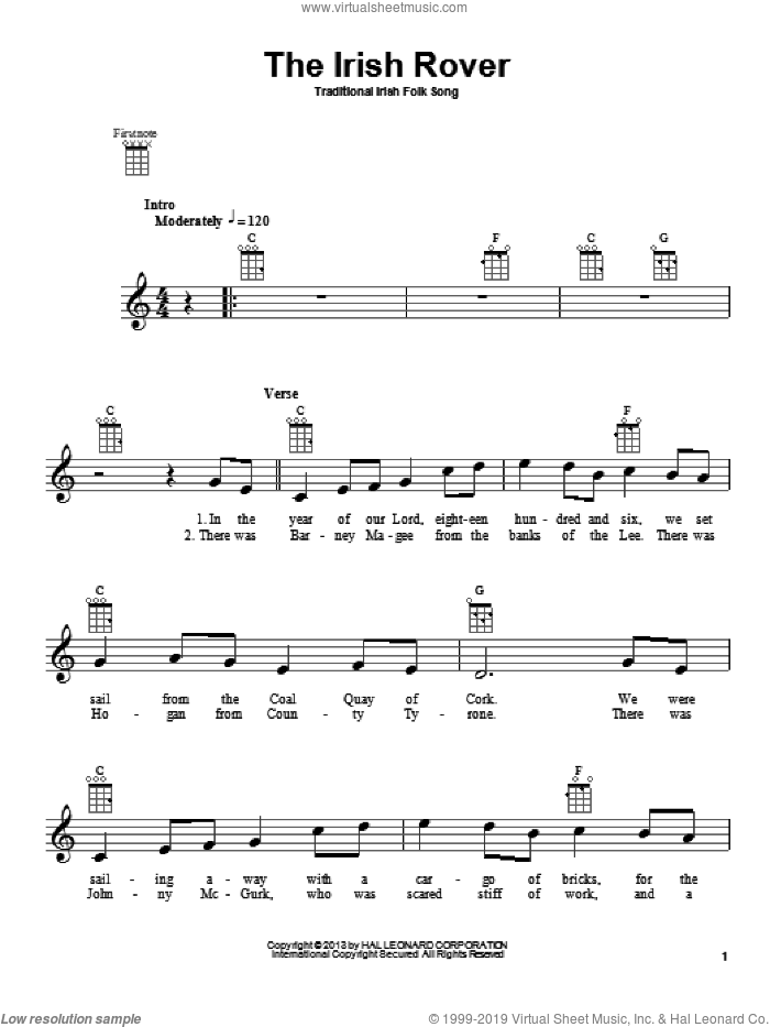 The Irish Rover sheet music for ukulele, intermediate skill level