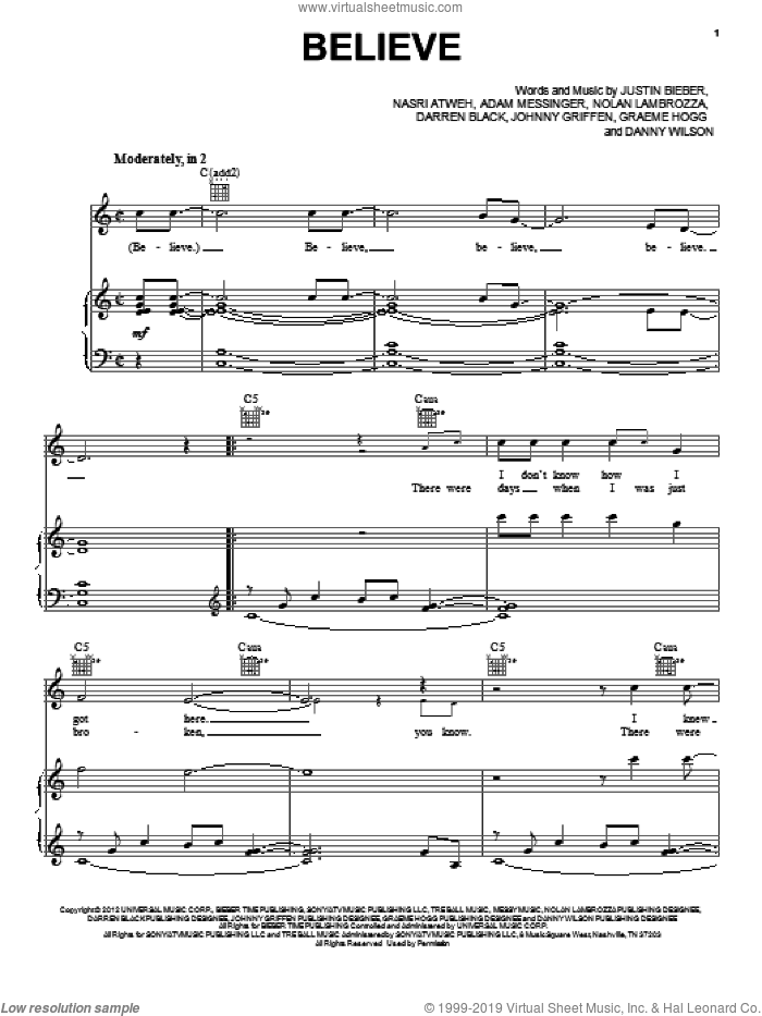 Believe sheet music for voice, piano or guitar by Justin Bieber, intermediate skill level