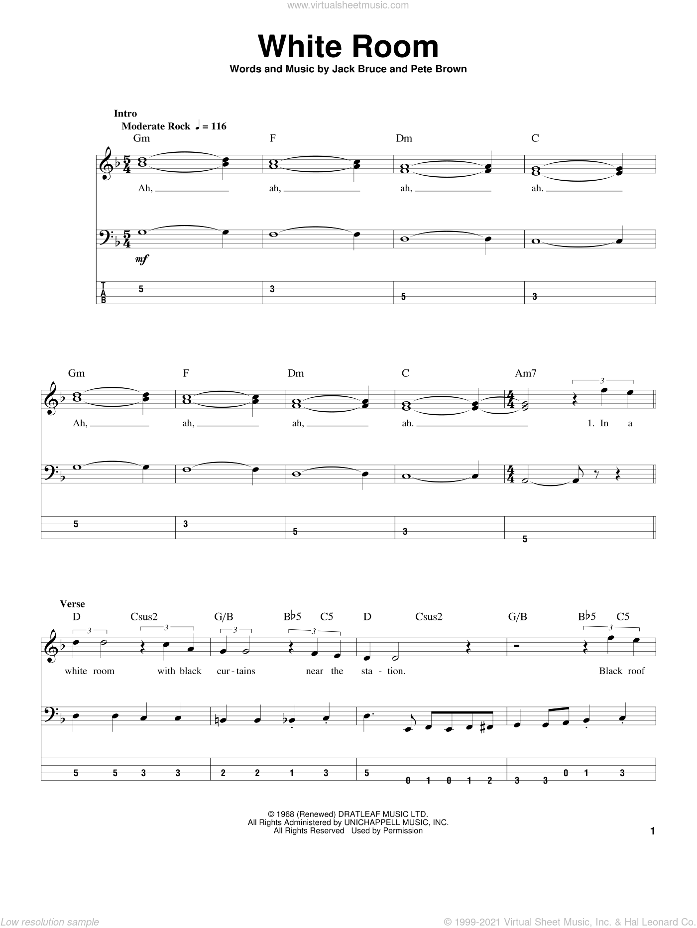 White Room sheet music for bass (tablature) (bass guitar) by Cream, Jack Bruce and Pete Brown, intermediate skill level