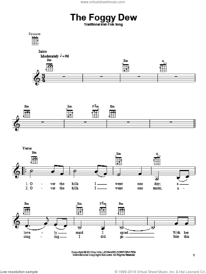The Foggy Dew sheet music for ukulele, intermediate skill level