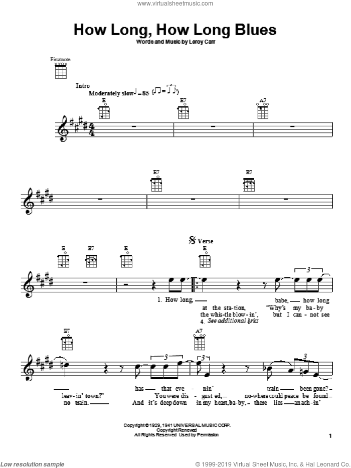How Long, How Long Blues sheet music for ukulele by Leroy Carr. Score Image Preview.