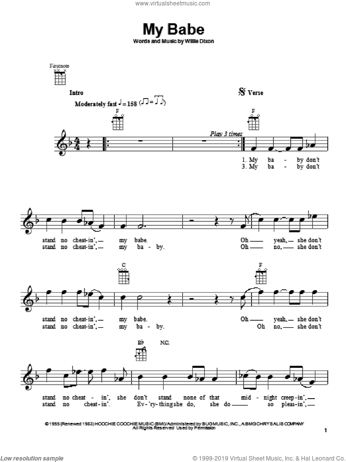 My Babe sheet music for ukulele by Little Walter and Willie Dixon, intermediate skill level