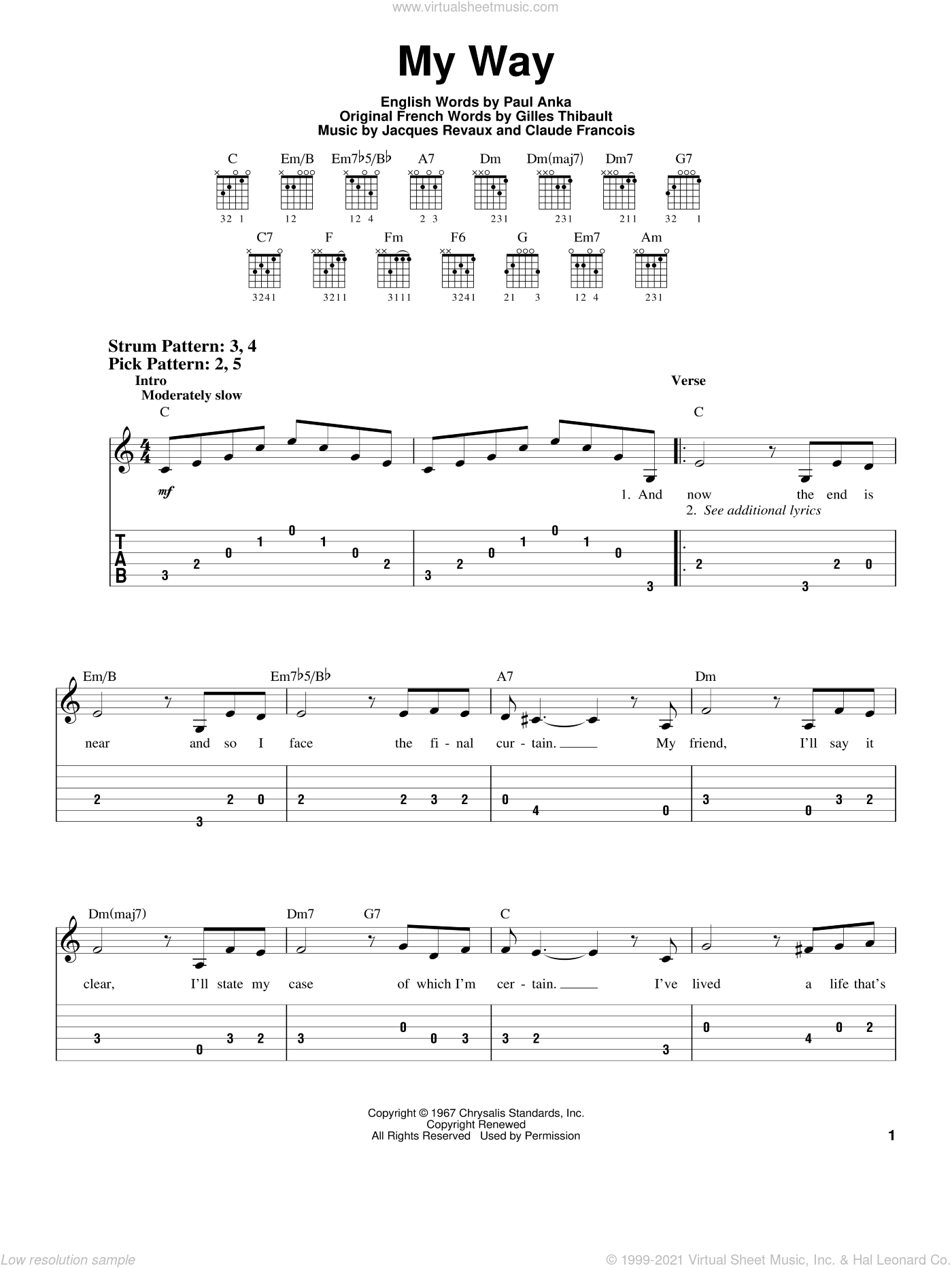 My Way sheet music for guitar solo (easy tablature) by Paul Anka, Elvis Presley, Frank Sinatra, Claude Francois, Gilles Thibault and Jacques Revaux, easy guitar (easy tablature)