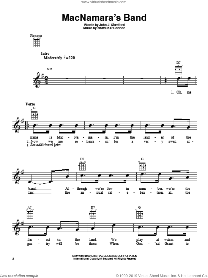 MacNamara's Band sheet music for ukulele by John J. Stamford
