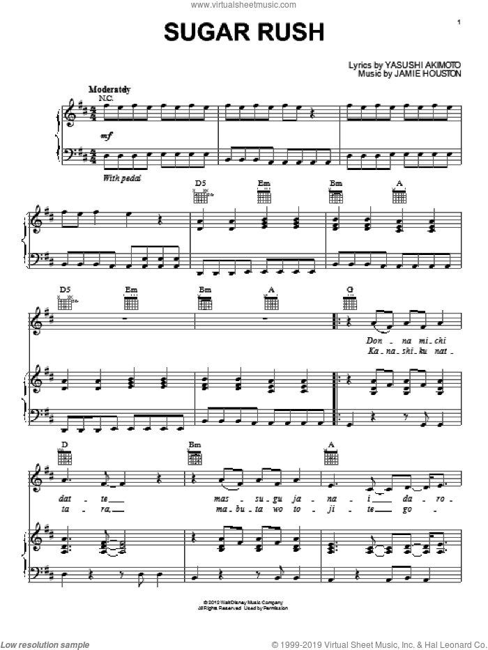 Sugar Rush sheet music for voice, piano or guitar by Yasushi Akimoto