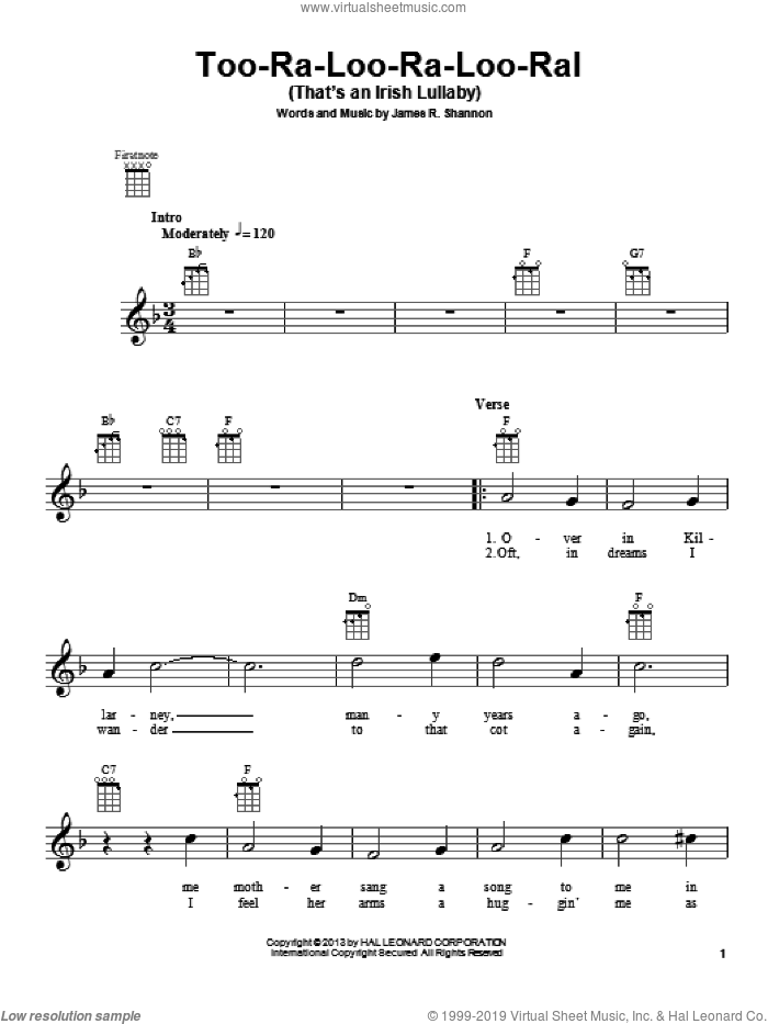 Too-Ra-Loo-Ra-Loo-Ral (That's An Irish Lullaby) sheet music for ukulele by James R. Shannon, intermediate skill level
