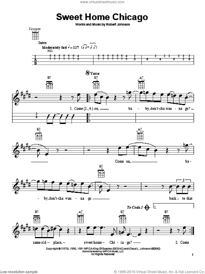 Sweet Home Chicago sheet music for ukulele by Robert Johnson and The Blues Brothers, intermediate skill level