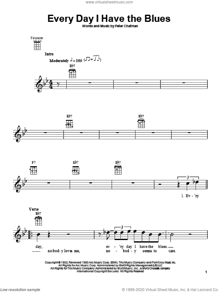 Every Day I Have The Blues sheet music for ukulele by Peter Chatman and B.B. King. Score Image Preview.