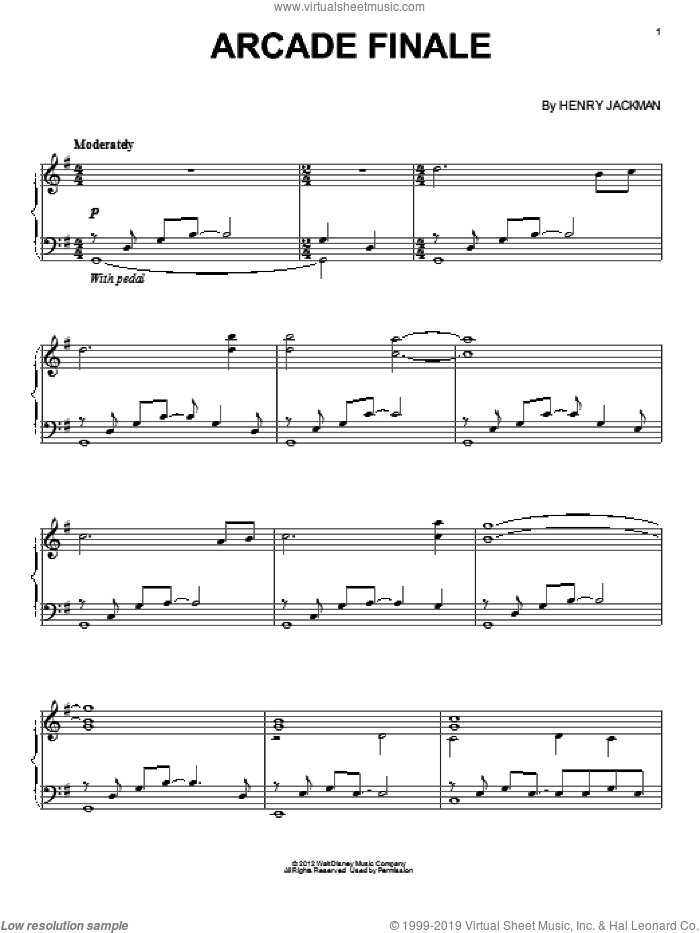 Arcade Finale sheet music for piano solo by Henry Jackman and Wreck-It Ralph (Movie), intermediate skill level