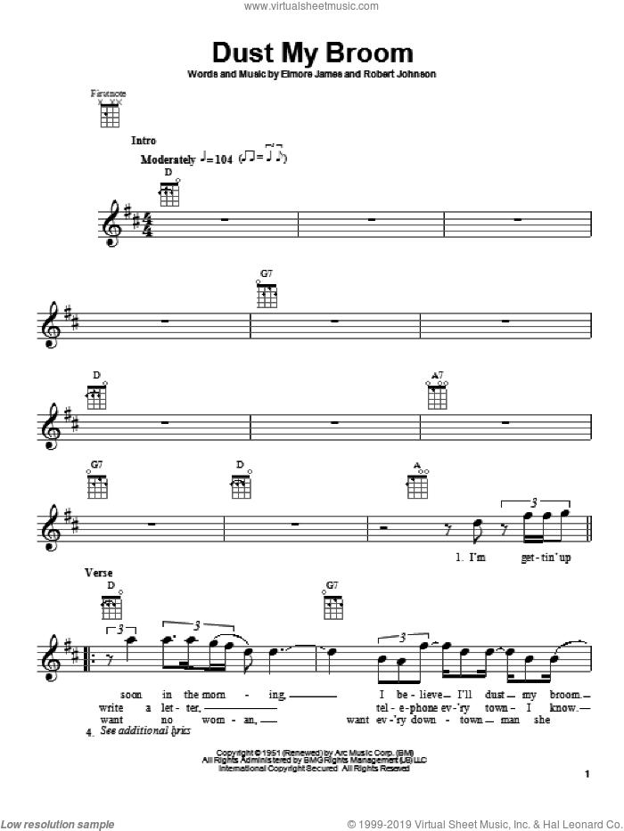 Dust My Broom sheet music for ukulele by Robert Johnson and Elmore James, intermediate skill level