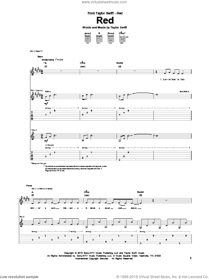 Red sheet music for guitar (tablature) by Taylor Swift. Score Image Preview.