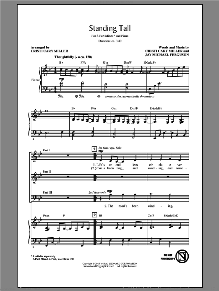 Standing Tall sheet music for choir (3-Part Mixed) by Cristi Cary Miller, intermediate. Score Image Preview.