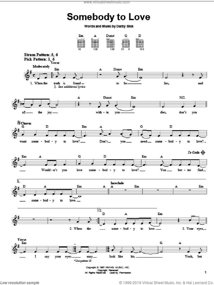 Somebody To Love sheet music for guitar solo (chords) by Jefferson Airplane and Darby Slick, easy guitar (chords)