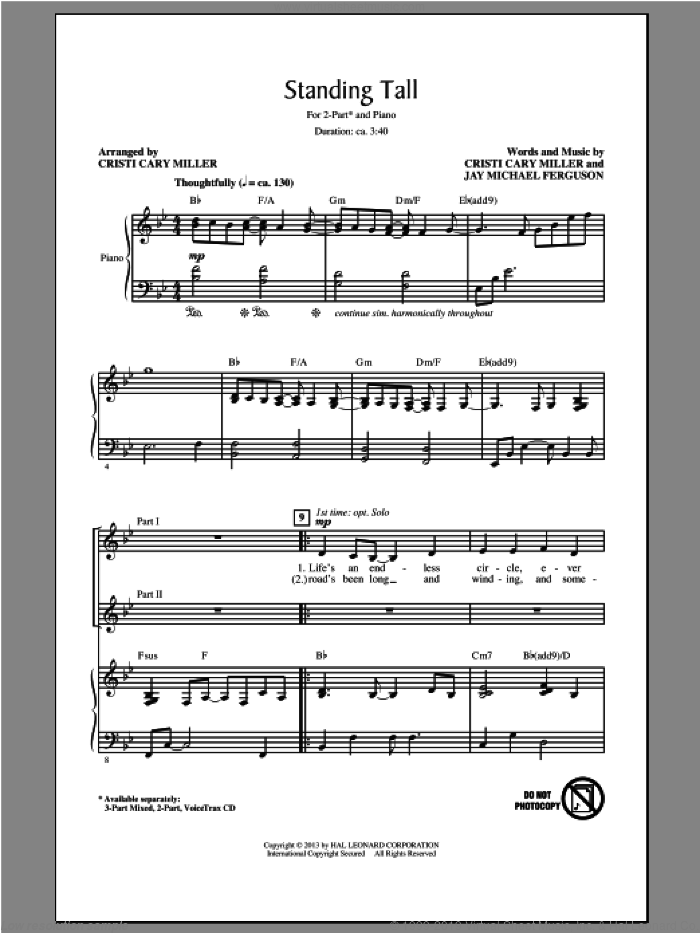 Standing Tall sheet music for choir (duets) by Cristi Cary Miller. Score Image Preview.