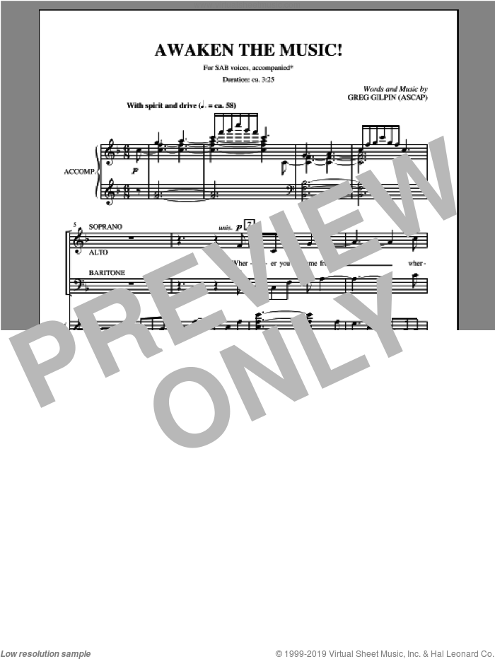 Awaken The Music sheet music for choir and piano (SAB) by Greg Gilpin