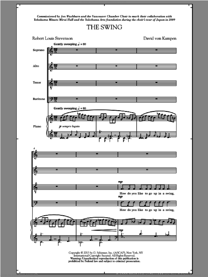 The Swing sheet music for choir and piano (SATB) by David Von Kampen and Jon Washburn. Score Image Preview.