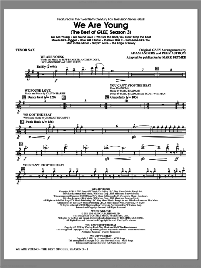 We Are Young, the best of glee season 3 sheet music for orchestra/band (tenor sax) by Mark Brymer and Glee Cast, intermediate skill level