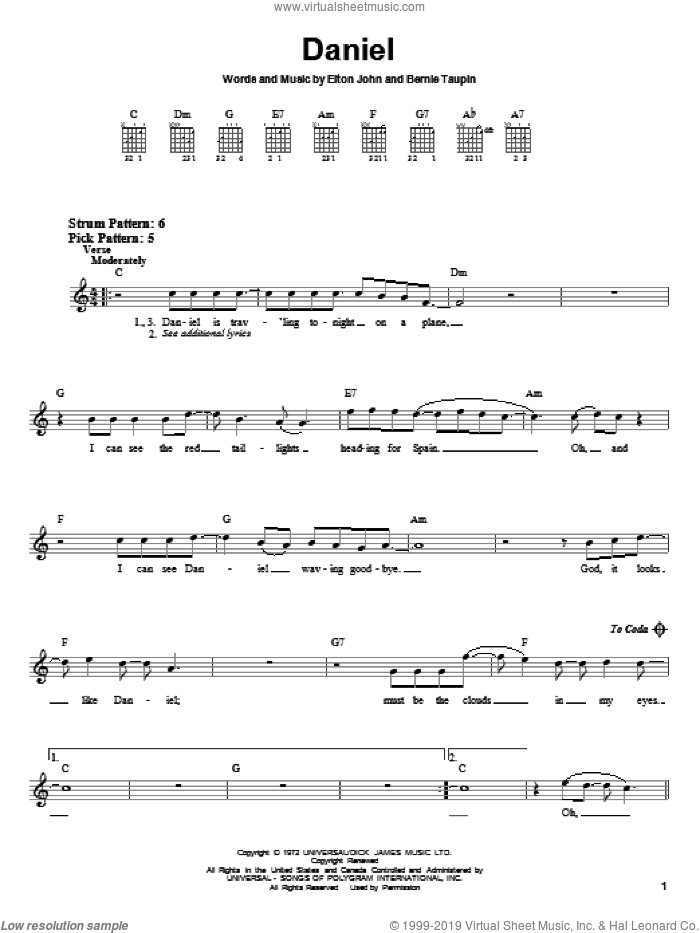 Daniel sheet music for guitar solo (chords) by Elton John and Bernie Taupin. Score Image Preview.