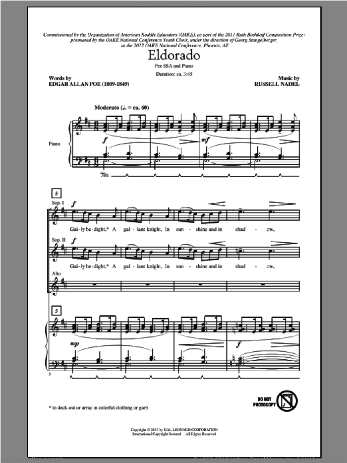 Eldorado sheet music for choir (soprano voice, alto voice, choir) by Russell Nadel and Edgar Allan Poe, intermediate. Score Image Preview.