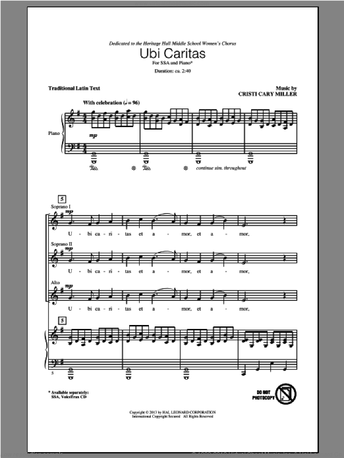 Miller Ubi Caritas Sheet Music For Choir Ssa Soprano Alto