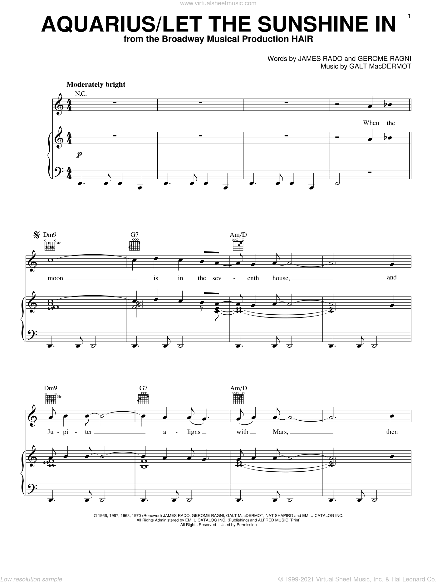 Aquarius/Let The Sunshine In sheet music for voice, piano or guitar by The Fifth Dimension, Galt MacDermot, Gerome Ragni and James Rado, intermediate skill level