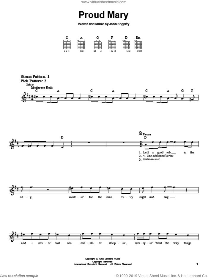 Proud Mary sheet music for guitar solo (chords) by Creedence Clearwater Revival, Ike & Tina Turner and John Fogerty, easy guitar (chords)