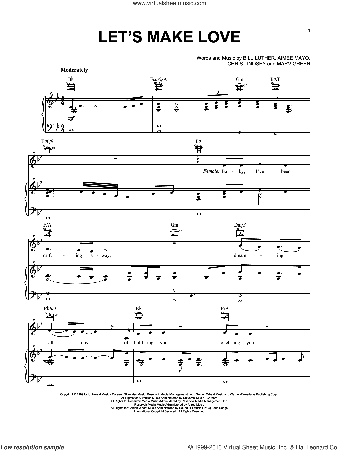 Let's Make Love sheet music for voice, piano or guitar by Chris Lindsey