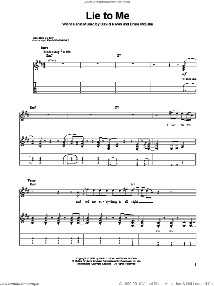 Lie To Me sheet music for guitar (tablature, play-along) by Jonny Lang and Bruce McCabe. Score Image Preview.